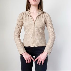 NWT Casall Tan & White Long Sleeve Workout Jacket